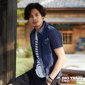 BIG TRAIN  加大斜紋布短袖襯衫-男-深藍