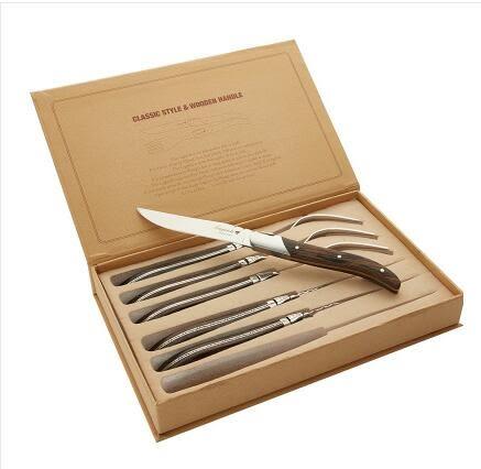 西餐餐具套裝木柄牛排刀叉兩件套法國Laguiole餐具304不銹鋼【雞翅木款】