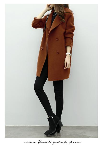 新款修身顯瘦收腰呢子大衣(三色)