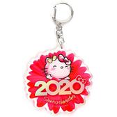 〔小禮堂〕Hello Kitty 花朵造型壓克力鑰匙圈《紅》掛飾.鎖圈.2020花漾系列 4901610-16451
