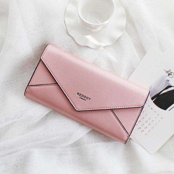 日韓版秋款錢包女長款 時尚簡約十字紋搭扣信封女士錢夾 亞斯藍
