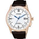 【送米奇電扇】CITIZEN 星辰 光動能電波萬年曆手錶-白x玫瑰金框/42.7mm CB0152-16A