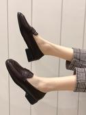 懶人鞋-單鞋女新款春季韓版百搭一腳蹬懶人小皮鞋休閒學生樂福鞋 花間公主