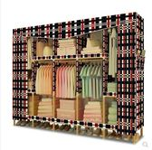 衣櫃間約現代經濟型實木板式組裝臥室櫃子間易布衣櫃省空間掛衣櫥LX 貝兒鞋櫃