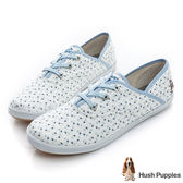 Hush Puppies 清新小花咖啡紗帆布鞋-白色