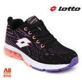 【LOTTO】女款運動慢跑鞋 -黑織粉(L6592)全方位跑步概念館