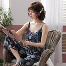 睡衣女夏季薄款吊帶闊腿長褲套裝可愛大碼梭織綿綢人造棉綢家居服 魔法鞋櫃