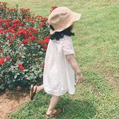 1夏裝3歲4女寶寶2小女童短袖純色洋裝正韓兒童鏤空洋氣娃娃裙子【萬聖節鉅惠】