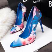 韓版時尚碎花尖頭高跟鞋百搭細跟10cm單根OL單鞋潮 米蘭shoe