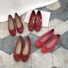 單鞋復古紅色蝴蝶結圓頭小單鞋芭蕾鞋淺口平底絨面單鞋女夏天婚鞋秋鞋 【快速出貨】
