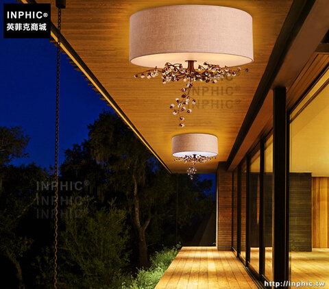 INPHIC- 美式水晶吸頂燈歐式田園布藝鐵藝花草主臥室客廳浪漫吸頂燈-C款_S197C