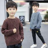 男童毛衣小學生男童針織衫中大童男孩圓領毛衣寬松秋冬季