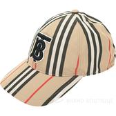 BURBERRY TB刺繡標誌條紋棒球帽(典藏米色)1930150-28