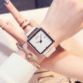 手錶女方形款時尚潮流時裝錶水鑚日歷簡約韓版女士石英錶 樂芙美鞋