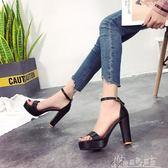 厚底涼鞋女夏一字帶露趾黑色顯瘦百搭粗跟防水台高跟鞋 奇思妙想屋