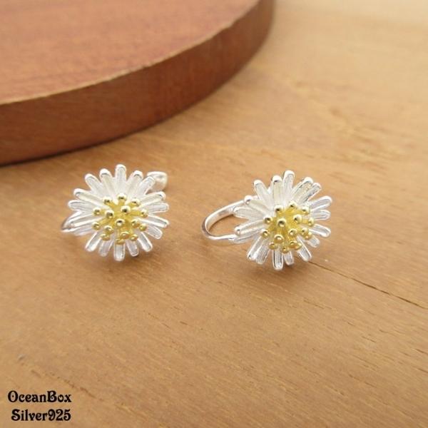 §海洋盒子§雙色雛菊花朵925純銀夾式耳環.無耳洞可戴