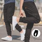 長褲 三角皮標側口袋黑色工作褲縮口褲【N...