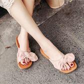 海邊外穿拖鞋女夏蝴蝶結軟底旅游度假涼拖鞋網紅平底一字拖沙灘鞋