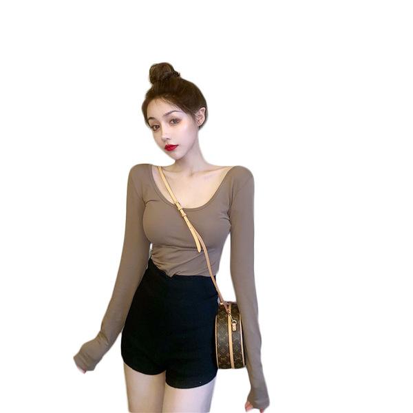 秋裝性感露背長袖t恤女裝2020新款潮修身前U後V領短款顯胸上衣女