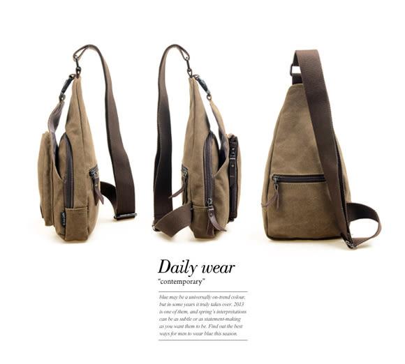 DF BAGSCHOOL - 日式吉田風帆布款休閒單肩斜背包