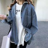 【名模衣櫃】連帽直條紋罩衫-藍色(M-2XL可選) 92804