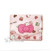 〔小禮堂〕Hello Kitty 皮革扣式名片夾《粉.蝴蝶結.鐵塔》零錢包.票卡夾.法式午後系列 4719585-00643