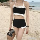 裝新款韓版女裝針織簡約拼色吊帶抹胸泳衣 游褲短褲套裝潮  凱斯盾數位3C