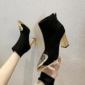 短靴 女尖頭高跟鞋2020秋冬新款性感裸靴粗跟黑色百搭瘦瘦馬丁靴潮 店慶降價