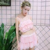 夏裝軟妹日系可愛少女荷葉邊小胸分體裙式泳裝學生保守泳衣兩件套   LannaS