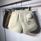 冬季加厚夾棉絲絨短褲女鬆緊高腰雙口袋外穿靴褲寬鬆闊腿褲