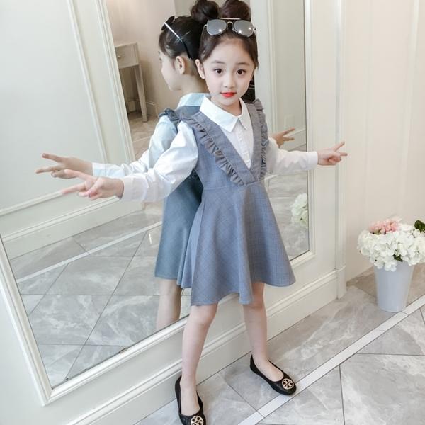 *╮s13小衣衫童裝╭*中大女童白色襯長袖衫拼接V領格子裙洋裝1080941
