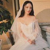 旅拍輕婚紗禮服2018新款新娘簡約一字肩森系小拖尾顯瘦公主夢幻igo 晴天時尚館