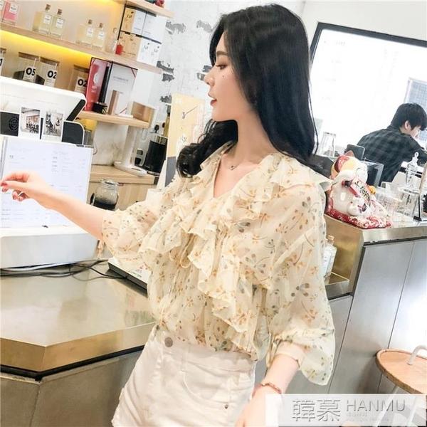 碎花雪紡襯衫女裝2021新款潮夏裝很仙的上衣服洋氣顯瘦新品短袖夏 夏季新品