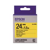【高士資訊】EPSON 24mm LK-6YB2 磁鐵 黃底黑字 原廠 盒裝 防水 標籤帶