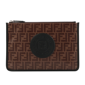 【FENDI】F LOGO MONOGRAM釉面手拿包(咖啡/黑色) 7N0078 A5K4 F17PZ