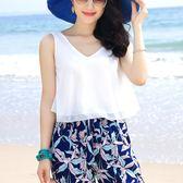 無袖雪紡上衣女海邊度假沙灘衫吊帶背心女短款無袖襯衫雙層V領夏季小衫 法布蕾輕時尚