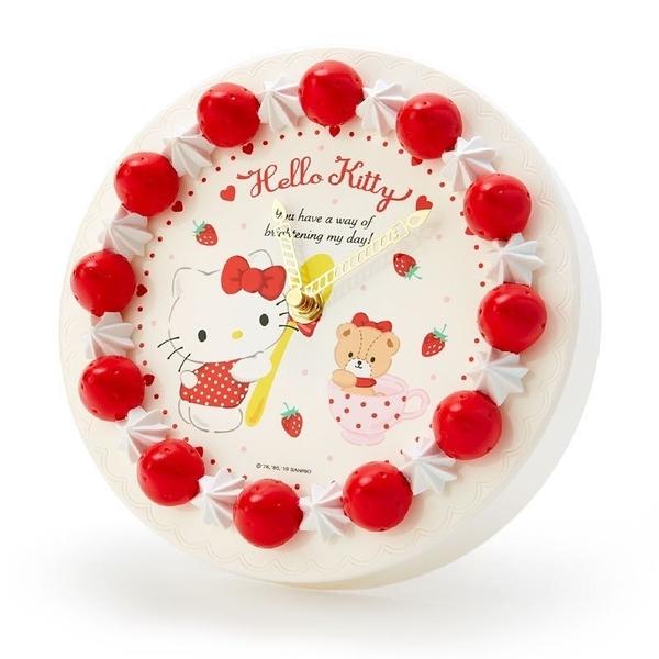 〔小禮堂〕Hello Kitty 草莓蛋糕造型圓形壁掛鐘《紅白》時鐘.桌鐘.造型鐘 4901610-34521