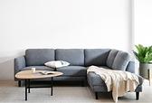 【歐雅居家】瓦爾轉角布沙發-L型面右-淺灰藍 / 沙發 / 布沙發 /三人沙發 / 12層內材