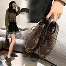 牛津鞋女公猴小皮鞋女英倫風21新款春季單鞋真皮休閒百搭布洛克馬丁牛津 快速出貨