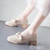 高跟鞋高跟鞋女熱銷秋款中跟粗跟奶奶仙女溫柔復古軟皮晚晚單鞋森繫春款 免運快出