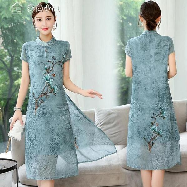 休閒洋裝優雅改良旗袍連身裙女復古中式顯瘦文藝時尚大碼夏裝日常民國風女 快速出貨