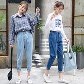 中大尺碼闊腿牛仔褲女2018新款牛仔褲寬鬆女韓版學生 nm4313 【Pink 中大尺碼】