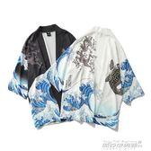 開衫男 日繫復古浮世繪鯉魚海浪七分袖漢服開衫男女寬鬆BF風襯衣   傑克型男館