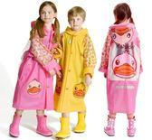 雨衣   兒童卡通雨衣學生書包位帶袖男女童環保雨披可配雨鞋套裝