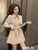 秋季2020新款小個子設計感中長款風衣女士英倫風高端流行收腰外套【限時福利價】