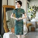 旗袍 旗袍女短袖夏季新款連身裙矮個改良版中媽媽夏裝復古遮肚