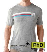 Smartwool 美國 SF904-040 Logo Stripe Tee 條紋圓領羊毛短袖薄排汗衣 銀灰色 男款