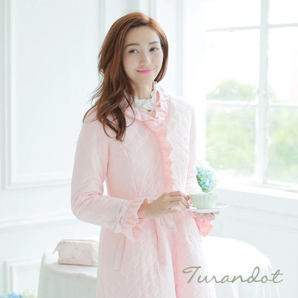 睡衣 古典奢華 厚棉長袖前扣式睡袍(粉紅色)杜蘭朵[S13054-05]