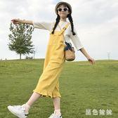 夏季新款女裝時尚百搭寬鬆顯瘦高腰中長款闊腿連體褲牛仔背帶長褲 qf6446【黑色妹妹】