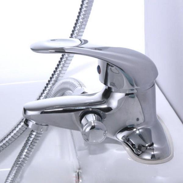 【AI485】淋浴水龍頭(免運) 三聯式水龍頭 全銅浴缸龍頭花灑組 水龍頭+軟管+蓮澎頭 EZGO商城